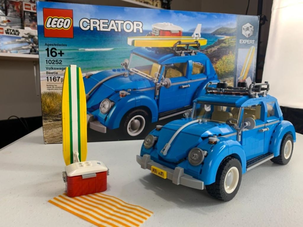 LEGO Creator VW Beetle in front of the box