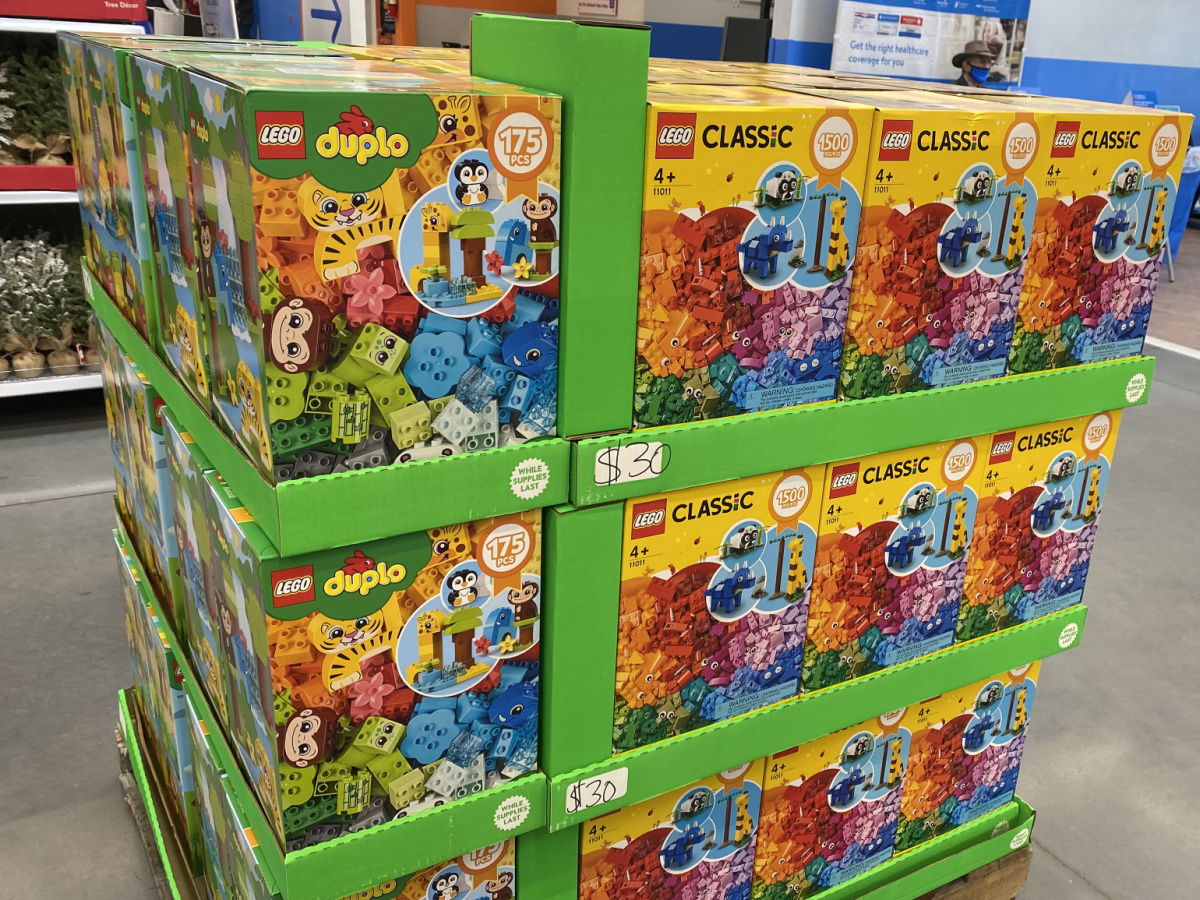 pallet display of LEGO DUPLO and LEGO sets in store