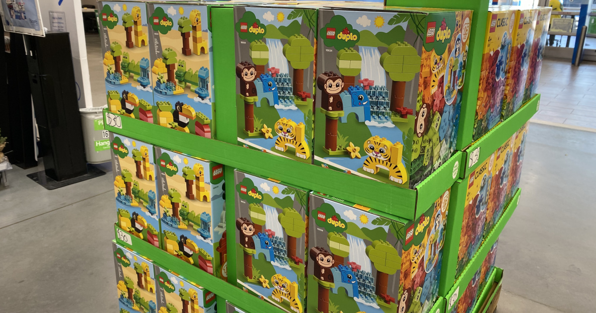 pallet display of lego duplo animal sets in a walmart store