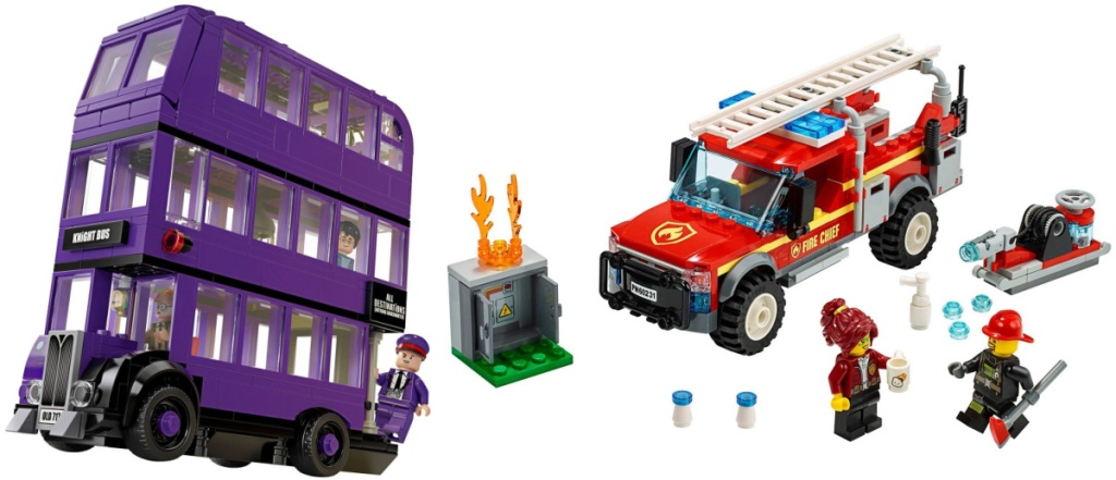 LEGO Harry Potter The Knight Bus Triple Decker Toy Bus and LEGO City Fire Chief Response Truck 201-Piece Building Set