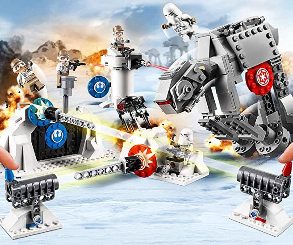 lego star wars base defense set with storm troopers battling