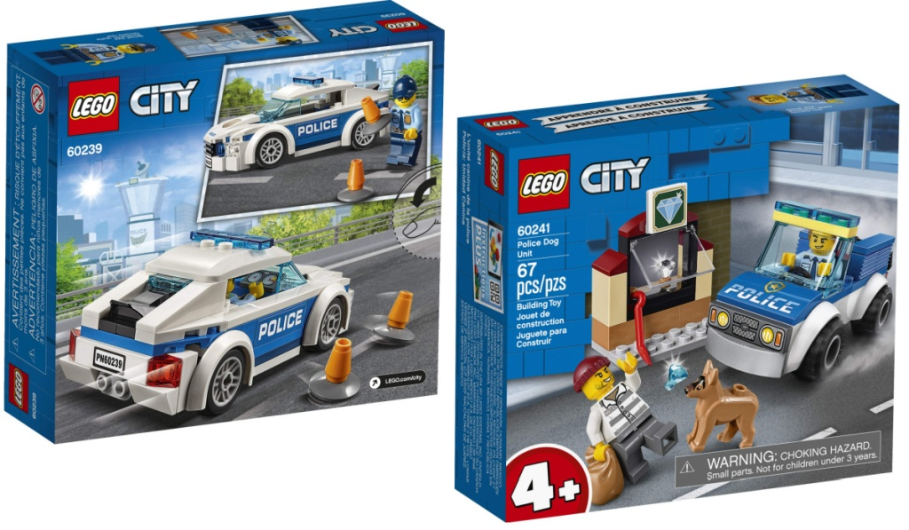 two LEGO city police cars