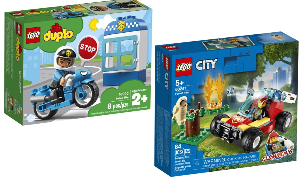 LEGO duplo police bike and forest fire