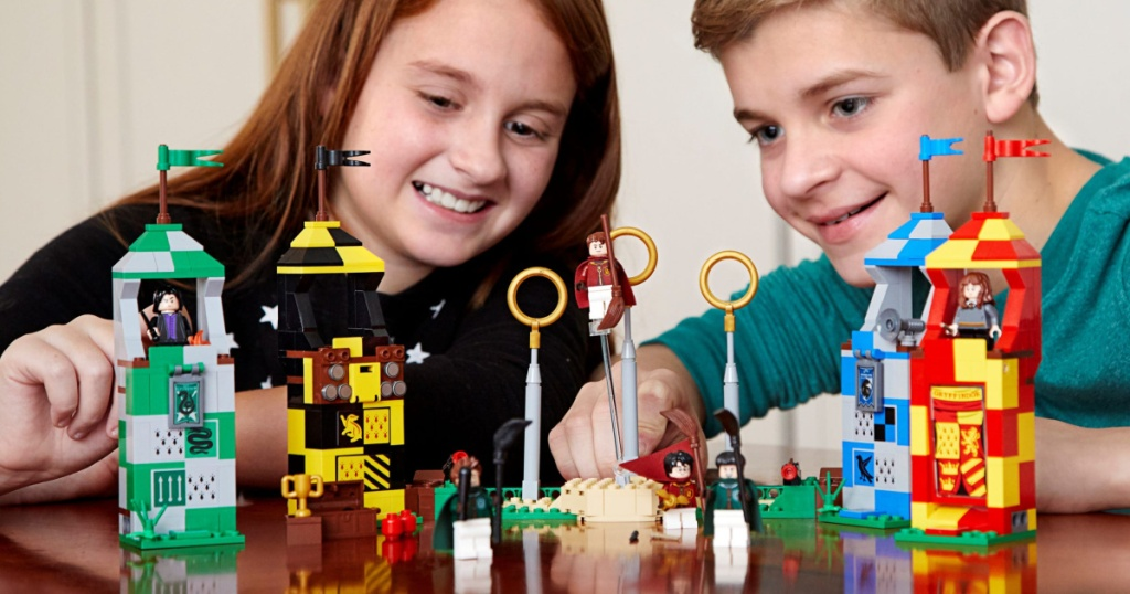 kids playing with LEGO quidditch harry potter