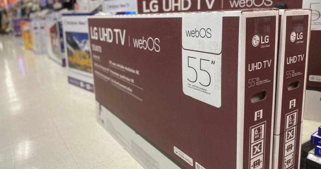LG television on floor