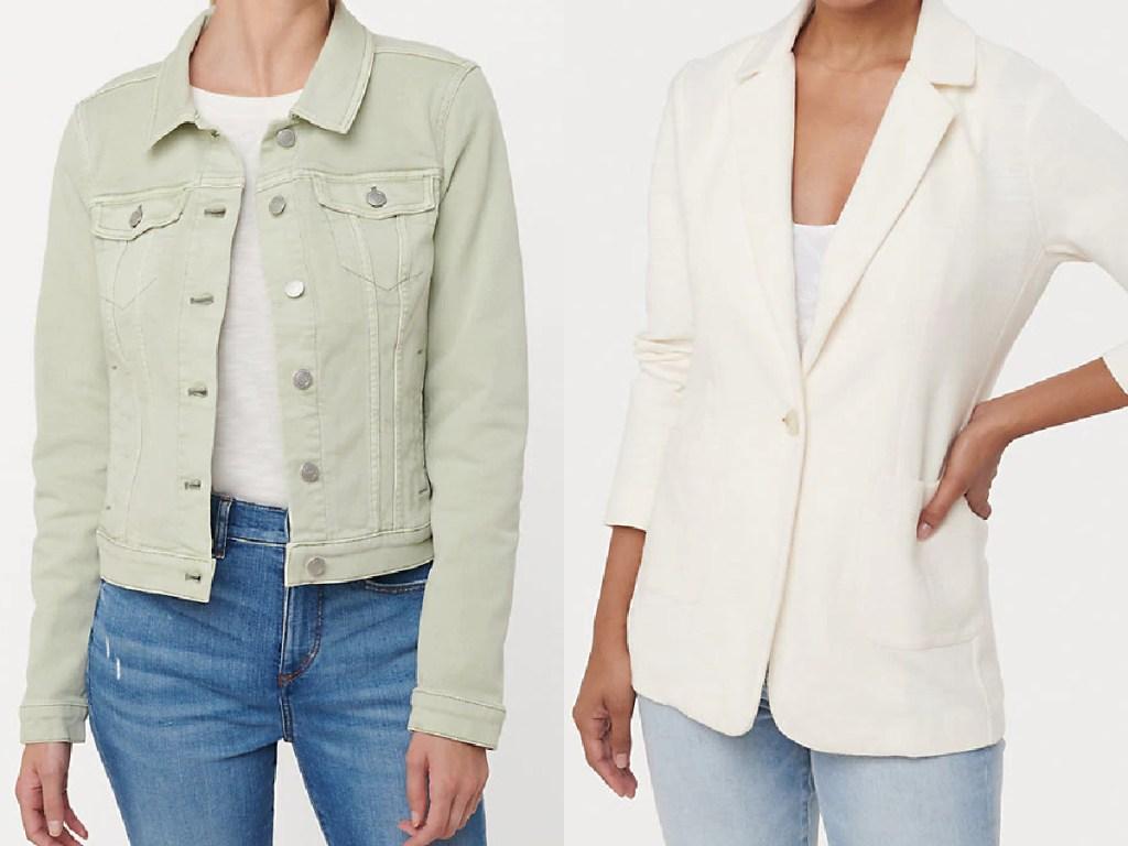 wanita dengan jaket denim hijau muda dan wanita dengan blazer putih