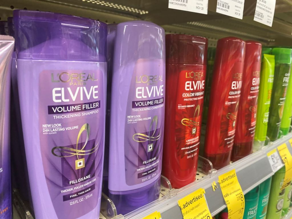 row of L'Oreal products on shelf at Walgreens