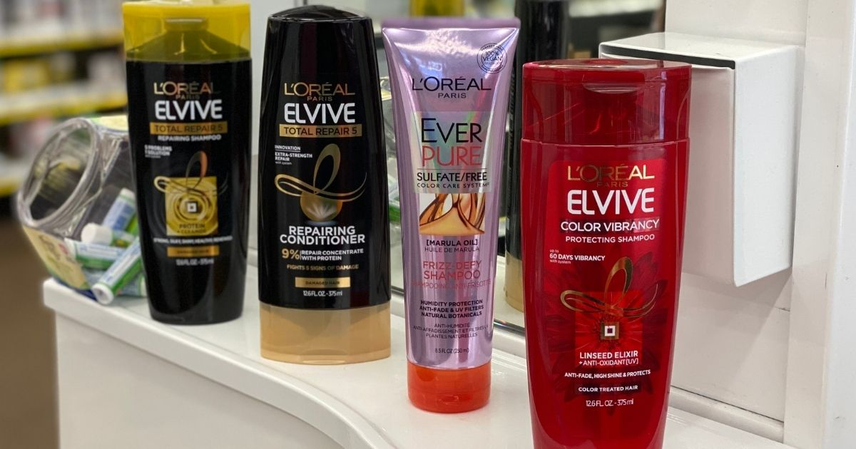 four bottle of L'Oreal Elvive products