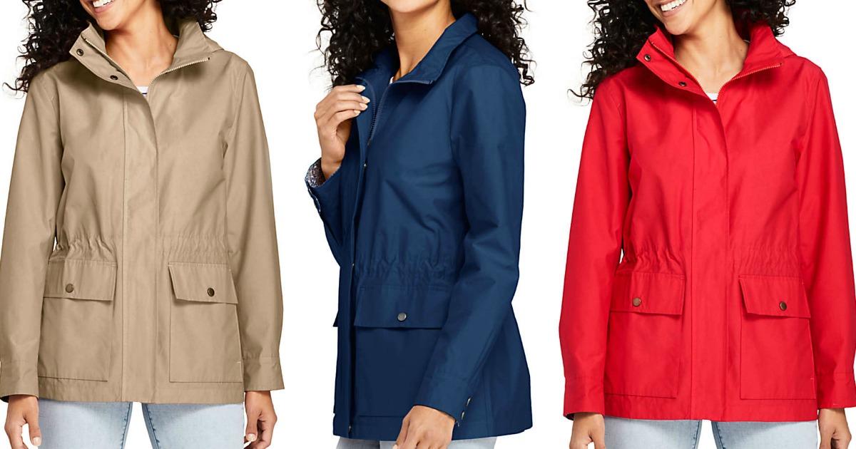 Woman wearing three colors of a rain jacket