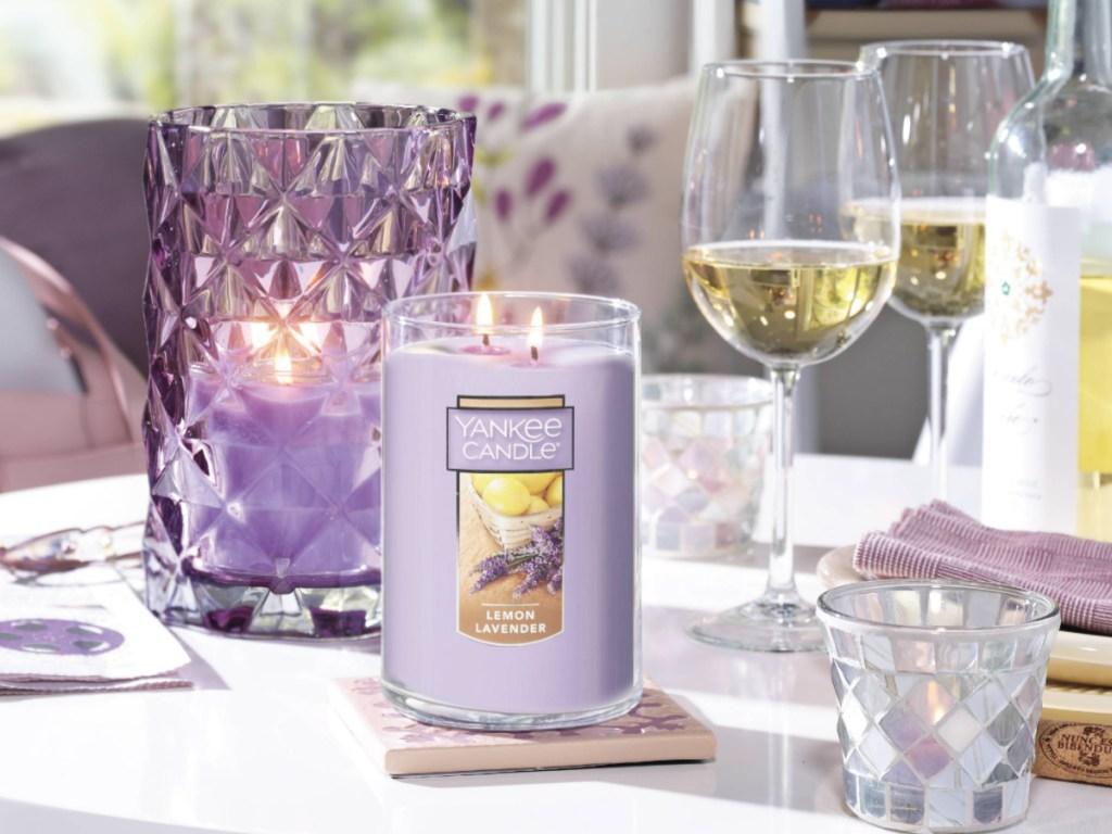 large yankee candle in lemon lavendar