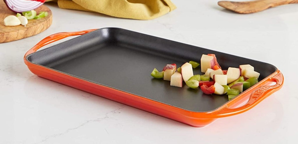 griddle with food on it