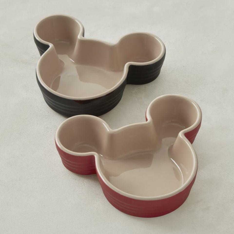 two Mickey Mouse shaped ramekins
