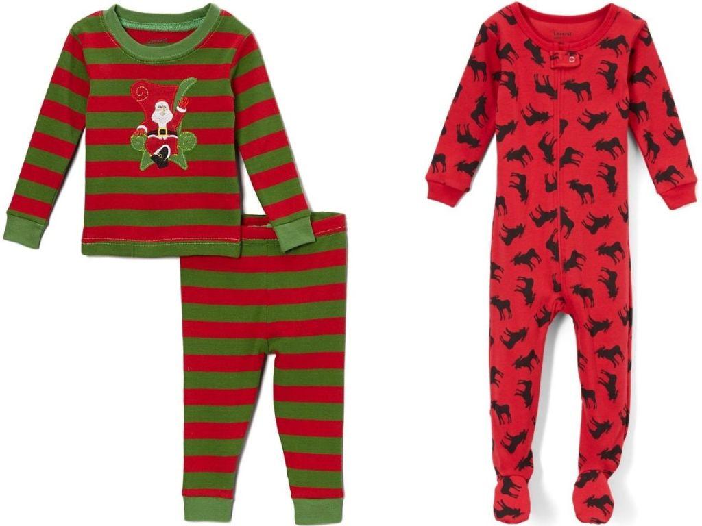 two pairs of kids holiday pajamas