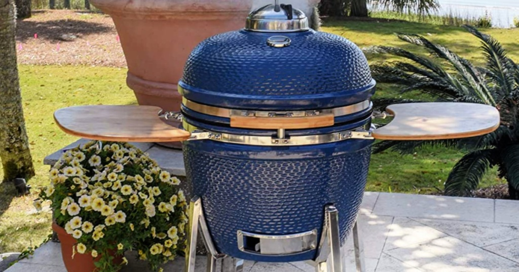Lifesmart Kamado 133-Sq. In Charcoal Grill and Smoker on deck