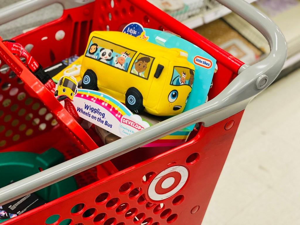 Little Bum Bus toy in Target cart