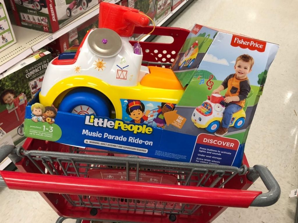 Little People Ride On at Target in shopping Cart