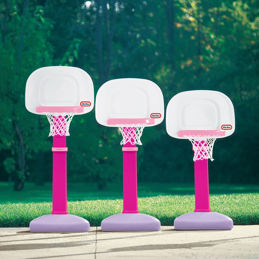 Little Tikes Pink Basketball Hoop shown at different heights