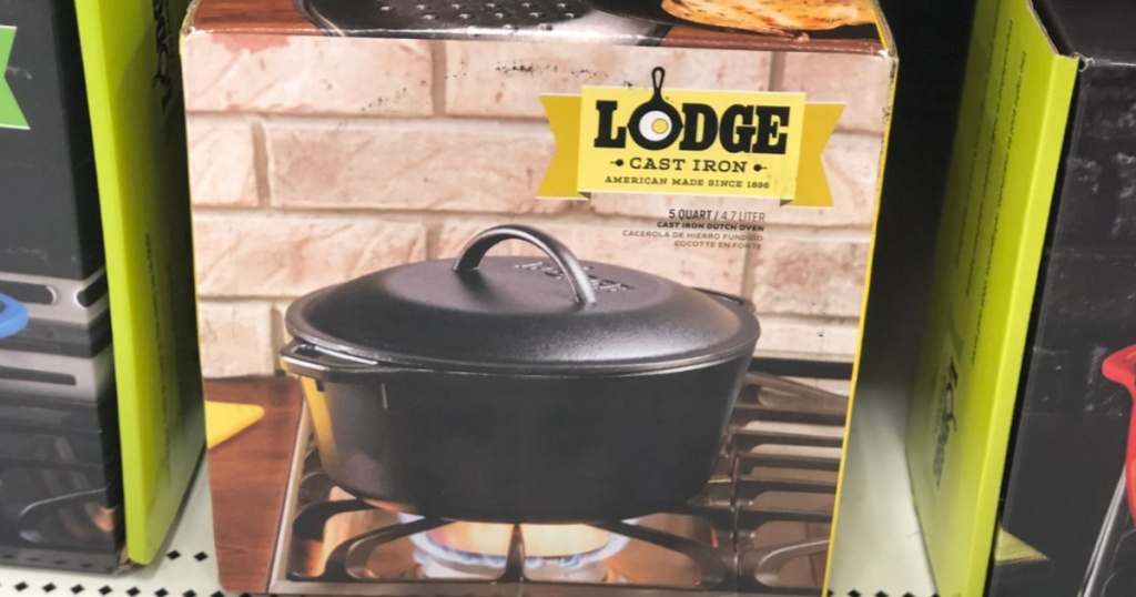 cast iron dutch oven in box on store shelf
