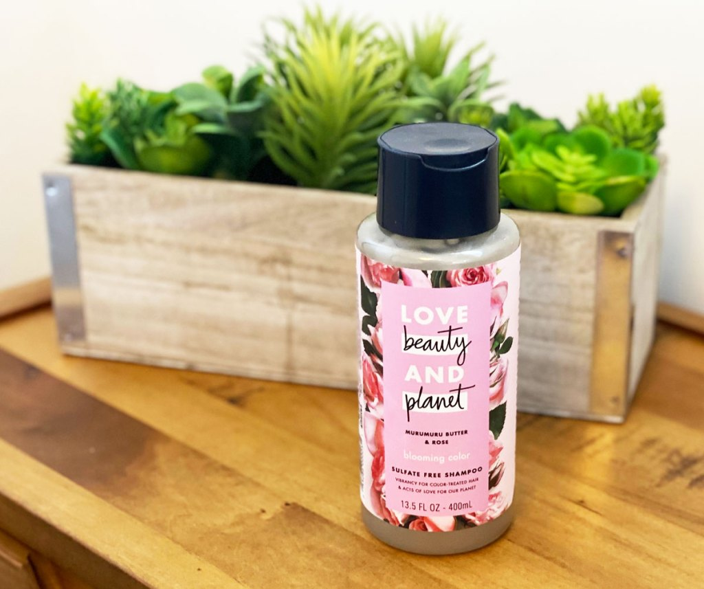 bottle of love beauty and planet shampoo on a wood table with succulent planter in background