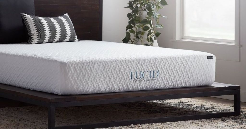 Lucid Mattress on platform bed in a bedroom