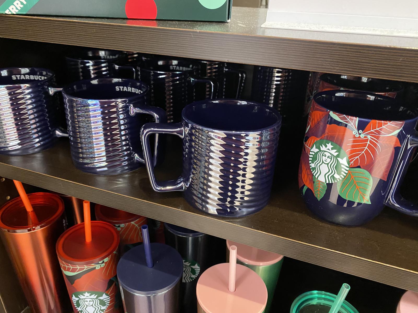Luster Swirl Mug 12oz on cafe shelf