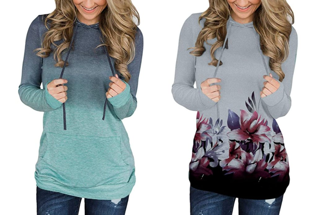 two women modeling pullover hoodies in grey to green ombre and grey with floral print at bottom