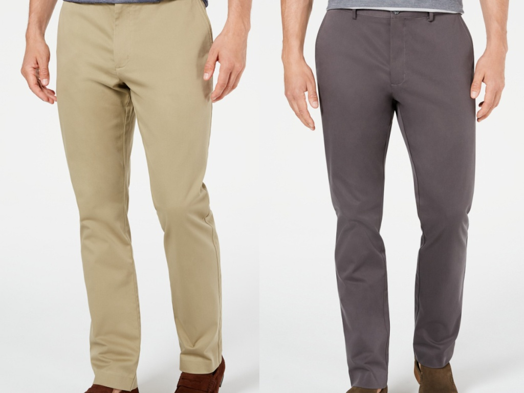 2 men wearing khaki pants