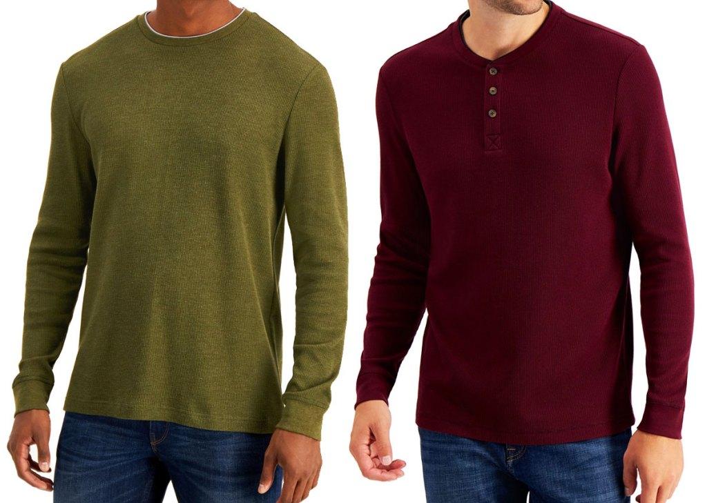dua pria yang mengenakan kemeja lengan panjang dengan warna hijau zaitun dan merah marun