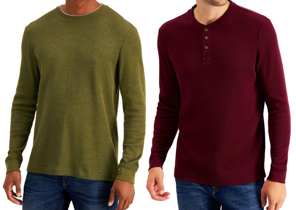 two men wearing long sleeve shirts in olive green and maroon colors