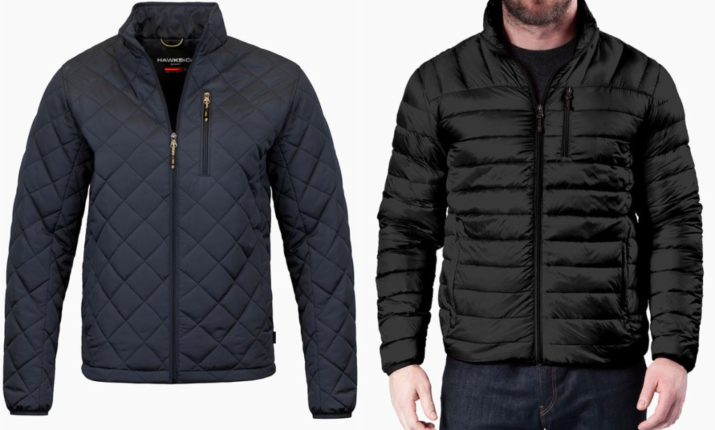 navy blue quilted men's zip-up jacket and man in a black puffer jacket