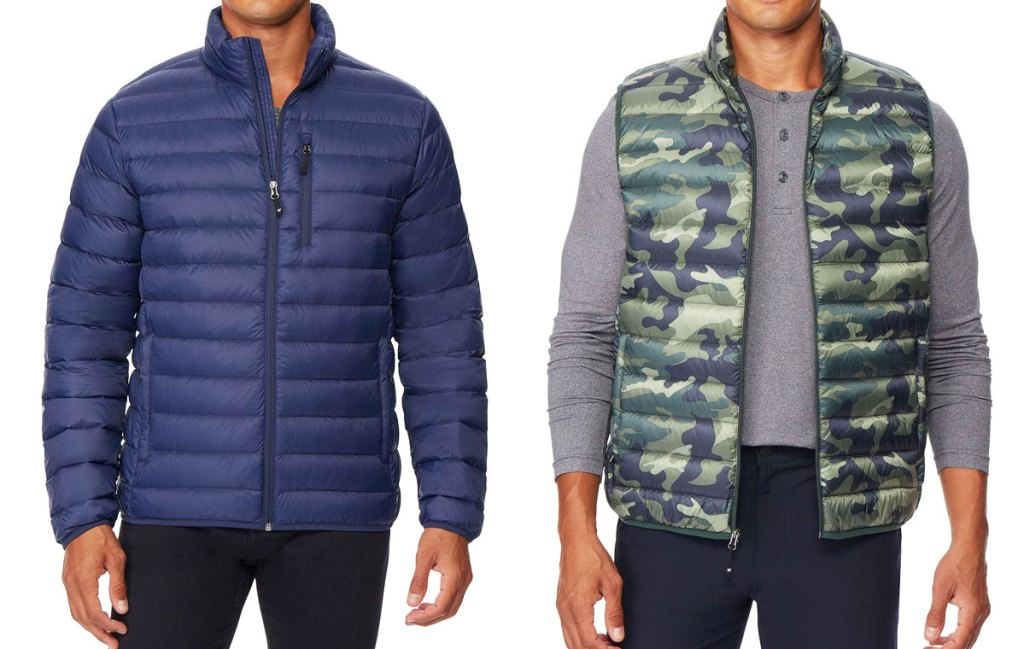 man in a blue puffer jacket and man in a camo print puffer vest with grey long sleeve tshirt