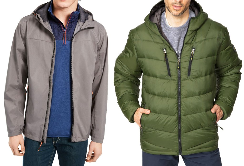 man in grey rain jacket with blue fleece underneath it and man in olive green puffer parka jacket