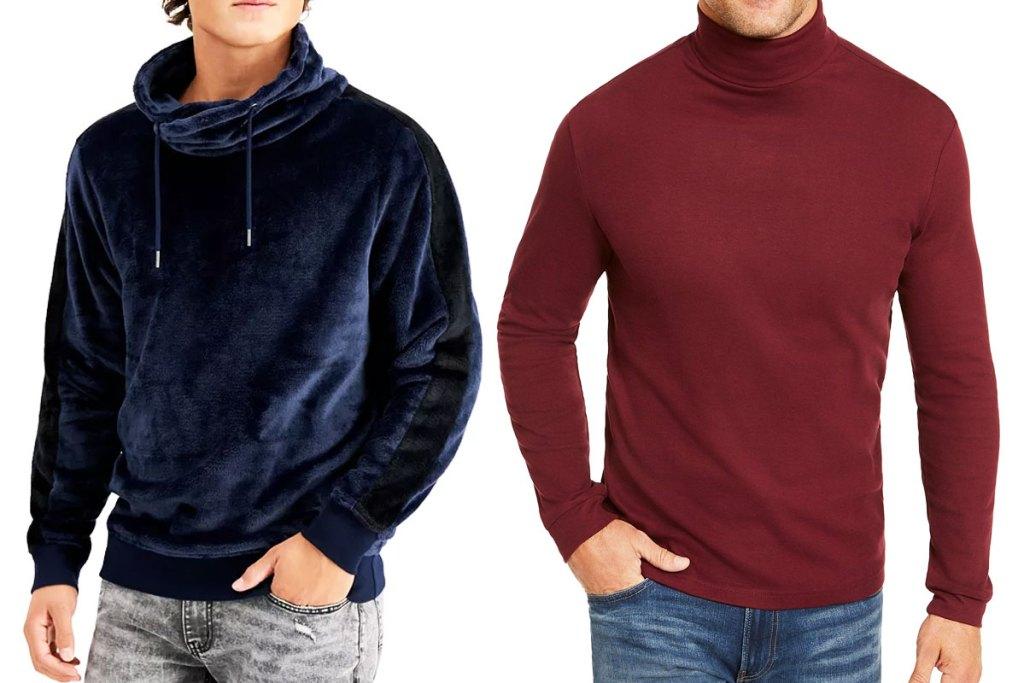 man in blue funnel neck sweatshirt and man in maroon turtleneck sweatshirt