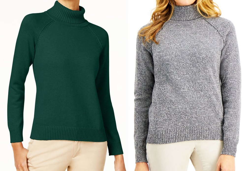 two women wearing turtleneck shirts in green and grey colors