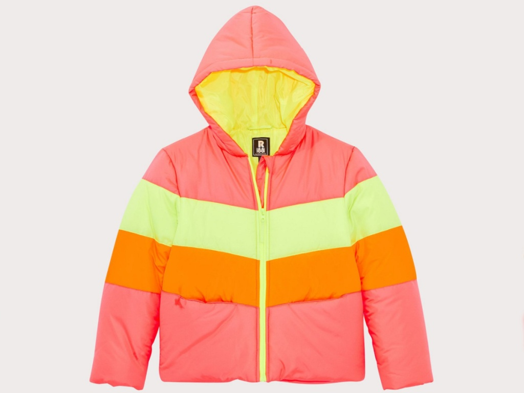Girls bright neon rothchild puffer coat