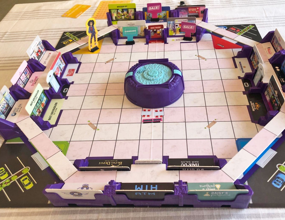 mall madness board game set up for play