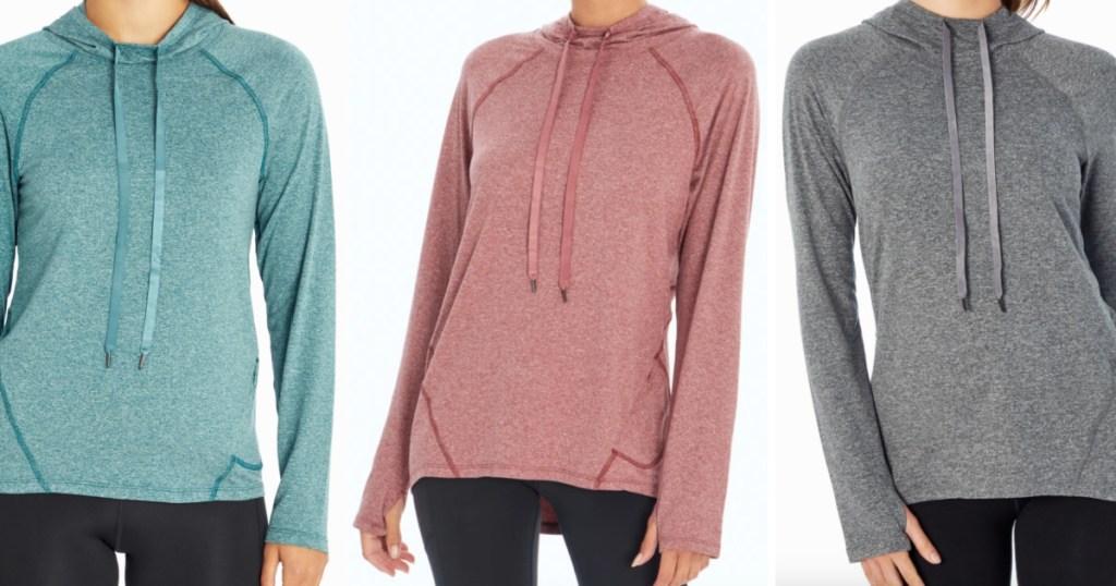 3 women standing side by side wearing marika Flex Long Sleeve Hoodies