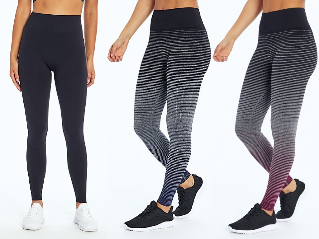 woman in black leggings, woman in black and navy dip dye leggings, and woman in black and maroon dip dye leggings