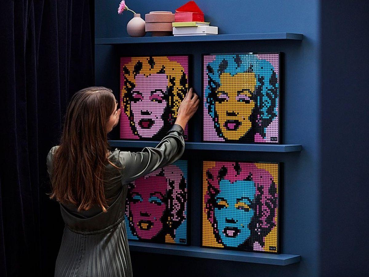 Marilyn Monroe Lego art on shelf
