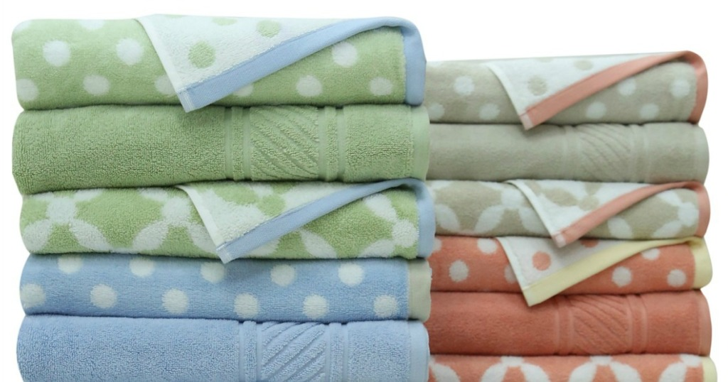stock image of colorful towels stacked up