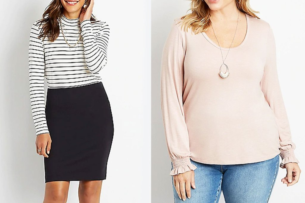 two women modeling long sleeve tees in white and black stripes and solid pale pink with cuffed sleeves