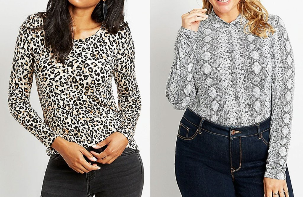 two women modeling long sleeve tops in cheetah and snakeskin prints