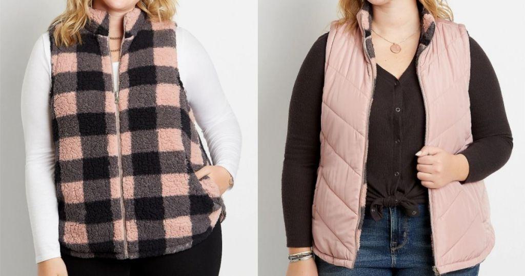 two women wearing vests