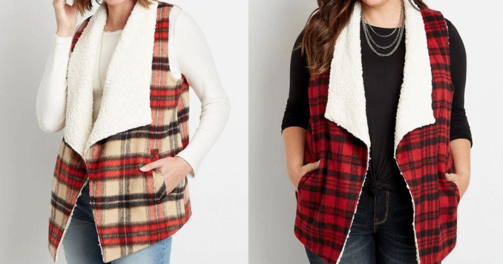 two women wearing sherpa vests