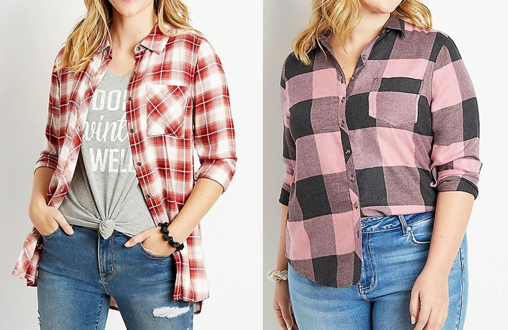 two women modeling flannel shirts with jeans