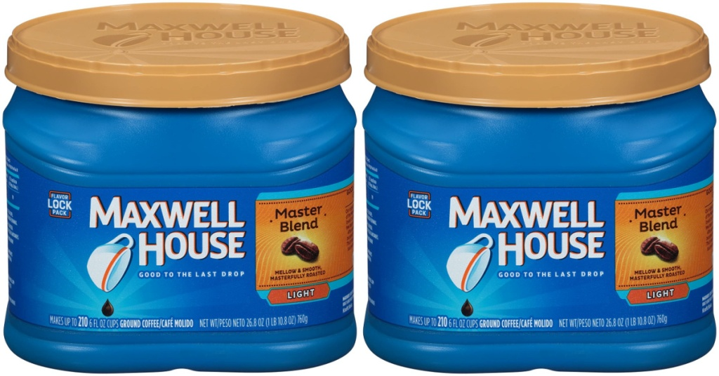 two canisters of light roast ground coffee