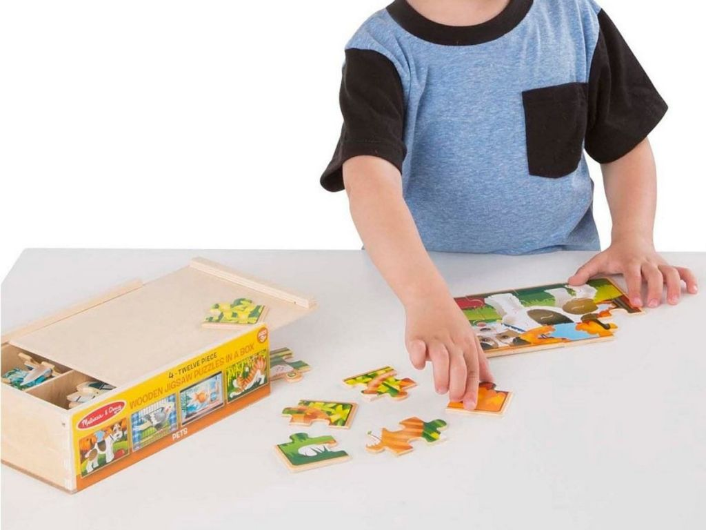 Little Boy Playing with Animal Puzzle Box