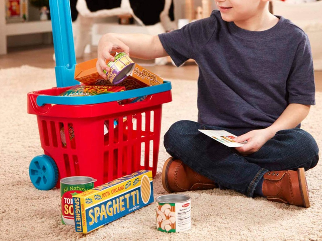 little boy sitting on the floor playing with melissa and doug grocery set