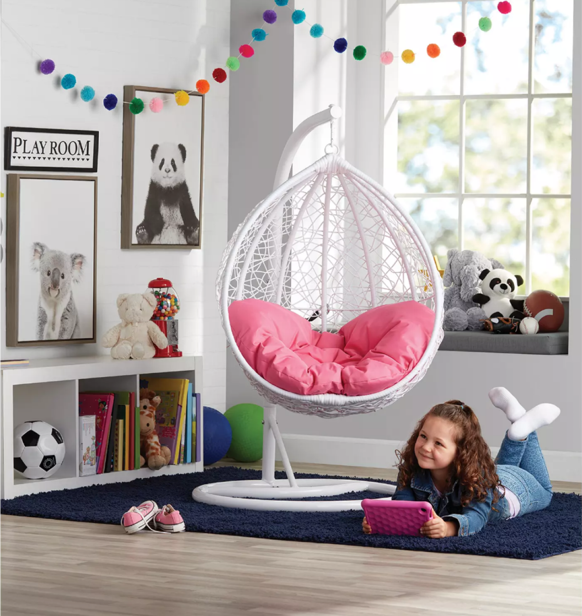 Member's Mark Hanging Pod with Pink Cushion in girl's room