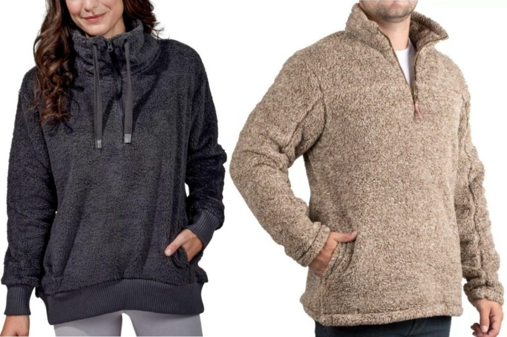 Woman and man wearing Sherpa Pullover Tops